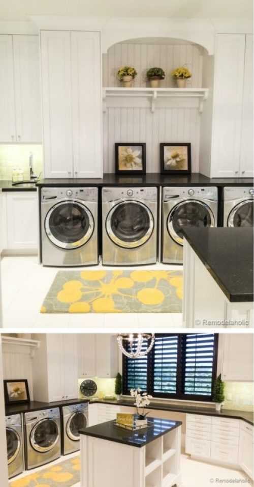 Double laundry room with folding island and multiple machines. Fabulous Laundry room design ideas from @Remodelaholic (100 of 103)