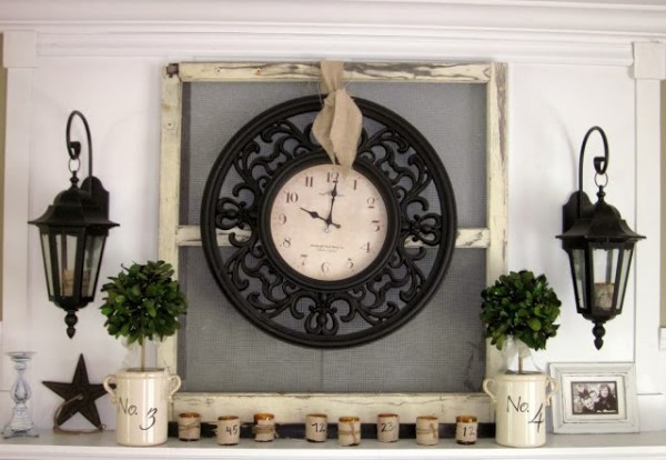 Down to Earth Style - old window with clock - via Remodelaholic