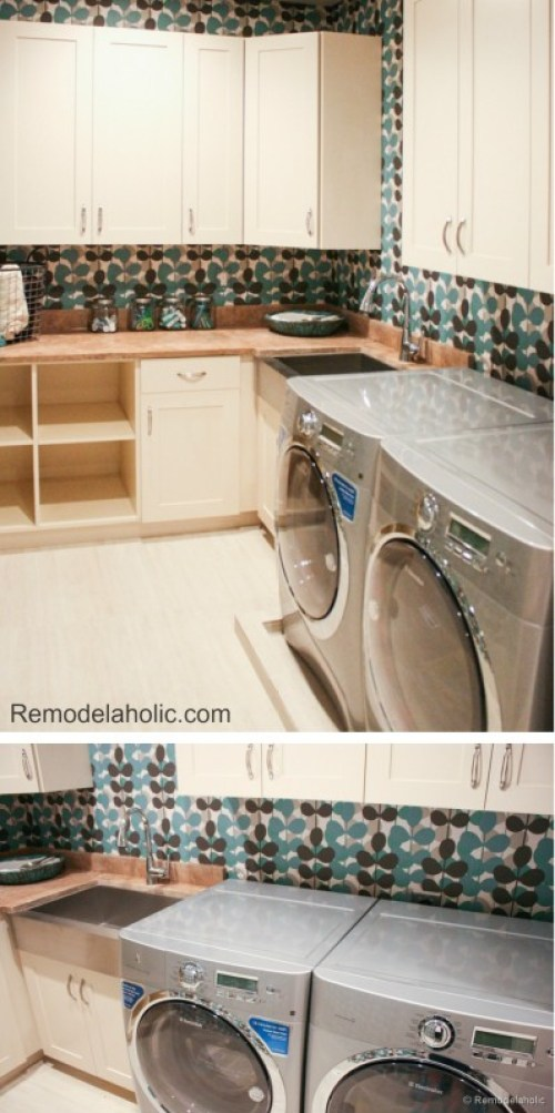 Fun laundry room with wallpaper