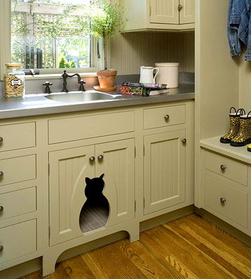 HIdden littler box sorta laundry room