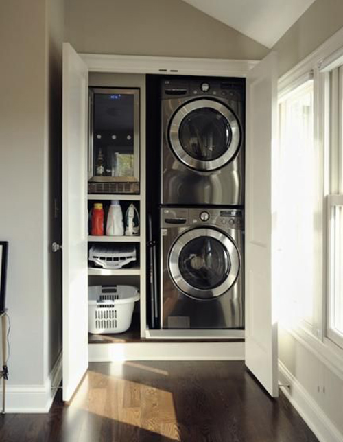 Laundry in a closet compact but well designed