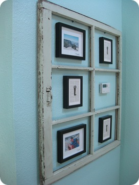 Open Hands Full Heart - use an old window and photo frames to disguise your thermostat via Remodelaholic