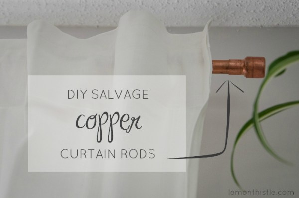 Salvaged Copper Pipe Curtain Rod, Lemon Thistle on Remodelaholic