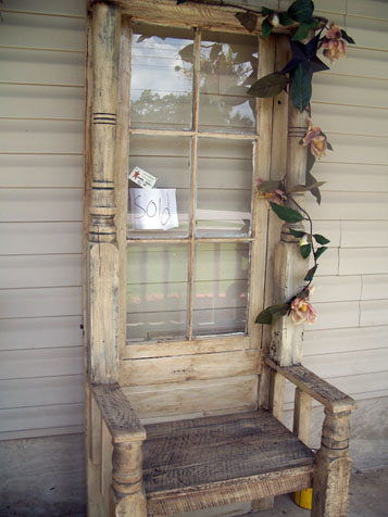 The Kountry Store - old window into hall tree bench - via Remodelaholic