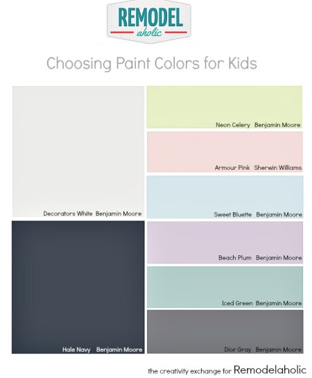 Tips for choosing paint colors for kid spaces. Remodelaholic.