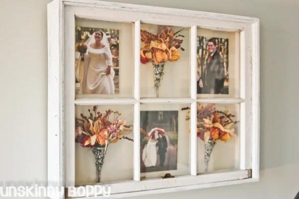 Unskinny Boppy - old window into wall shadowbox - via Remodelaholic