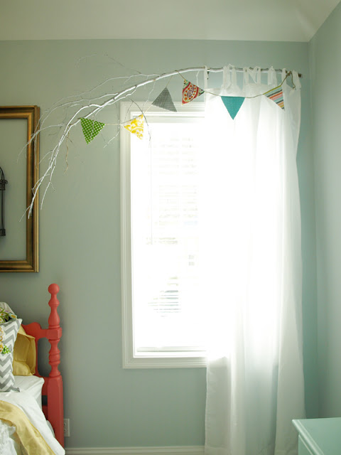 Less Than Perfect Life of Bliss - painted branch curtain rod - via Remodelaholic