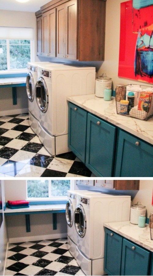 colorful laundry with builtin laundry bins and folding table