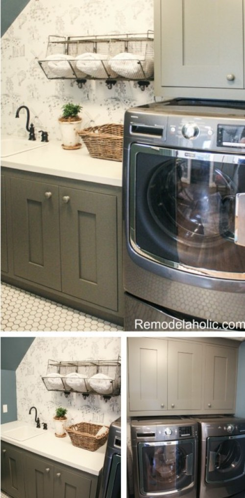 cute cottage attic laundry room design