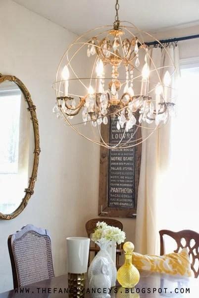 Lighting Basement Washroom Stairs: DIY Crystal Orb Chandelier Knockoff