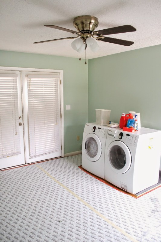 painting and putting carpet in the laundry room, Seesaws and Sawhorses on Remodelaholic