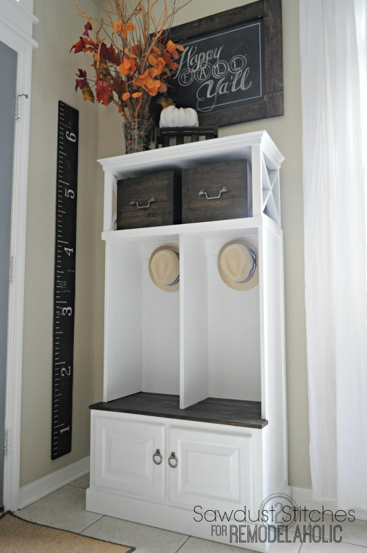 Turn a small media cabinet into an organized mudroom locker system @Remodelaholic #beforeandafter #makeover #repurpose