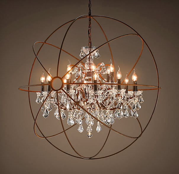 Remodelaholic diy crystal orb chandelier knockoff restoration hardware chandelier vintage romance style featured on remodelaholic aloadofball