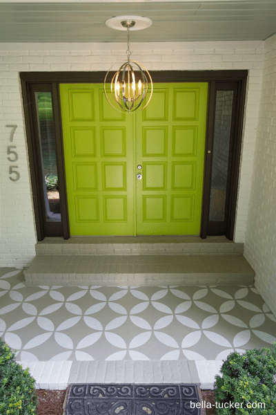 stenciled front porch for increased curb appeal on Remodelaholic