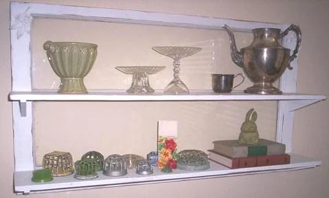 via Robo Margo - old window as display double shelf - via Remodelaholic