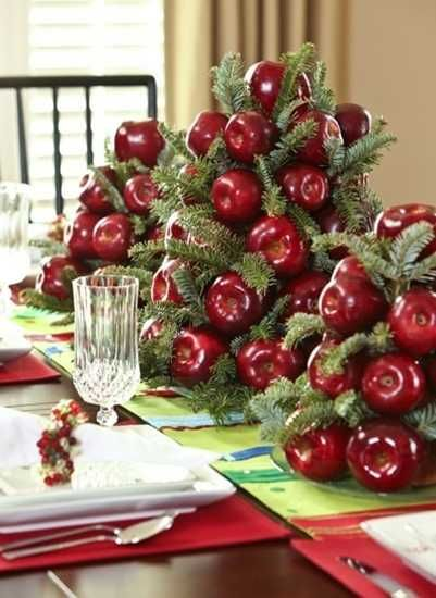 Apple and fir centerpiece
