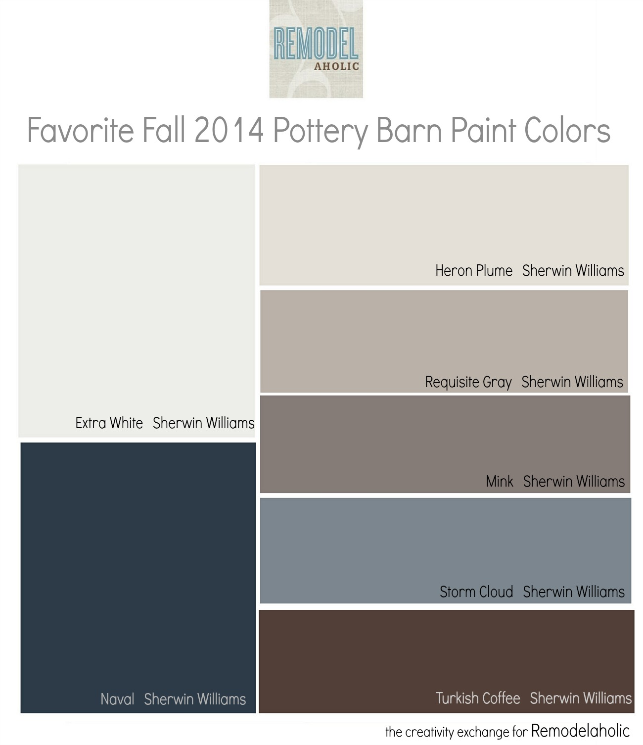 Favorites From The Fall 2014 Pottery Barn Paint Color Collection Remodelaholic