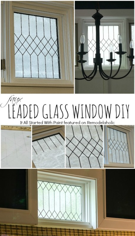 How to DIY Faux Leaded Glass Window | It All Started With Paint on Remodelaholic.com #AllThingsWindows #stainedglass