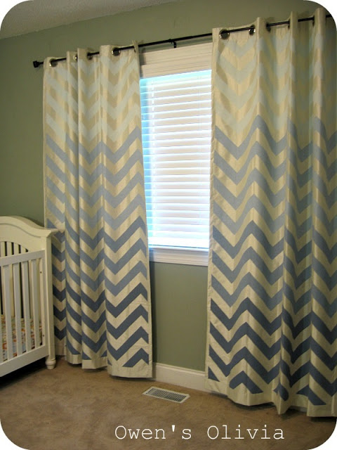 Owens Olivia - painted ombre chevron curtains - featured on Remodelaholic
