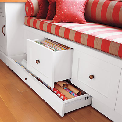This Old House - window seat with drawers for wrapping paper via @Remodelaholic
