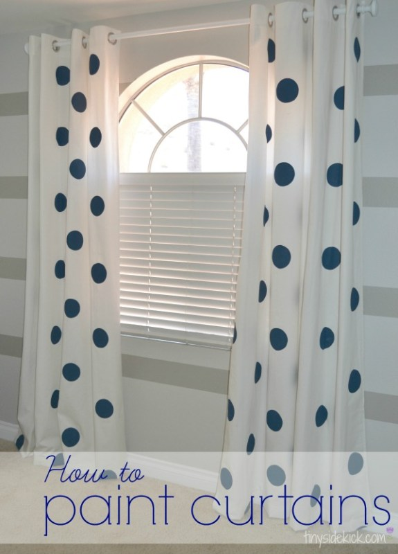 Tiny Sidekick - polka dot painted curtains - via Remodelaholic