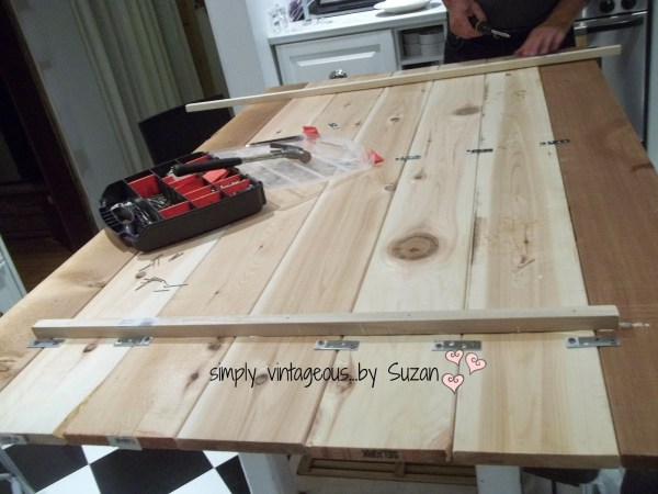 add planks to antique tabletop, Vintageous