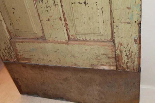 make an antique door taller with sheet metal, Girl Meets Carpenter on @Remodelaholic