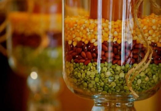 corn bean and lentil vase filler