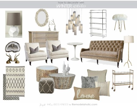 decorating with Winter Whites from Just The Bees Knees for Remodelaholic.com