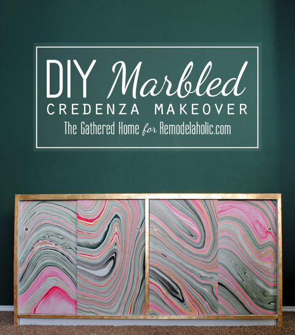 DIY Marbled Credenza Makeover by The Gathered Home for Remodelaholic.com #marble #paper #diy