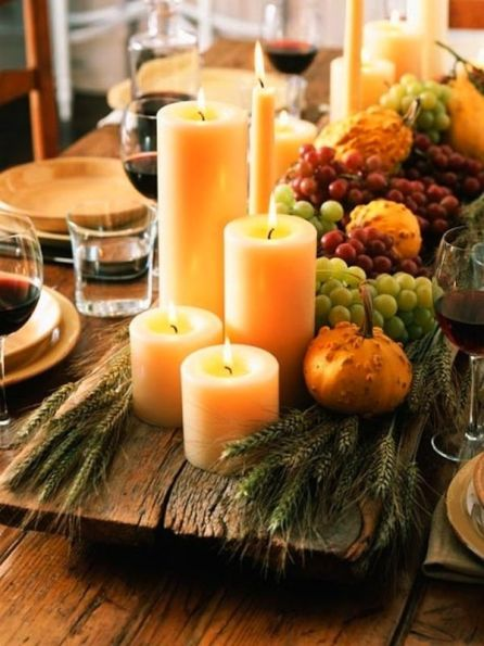 grapes and gourds centerpiece