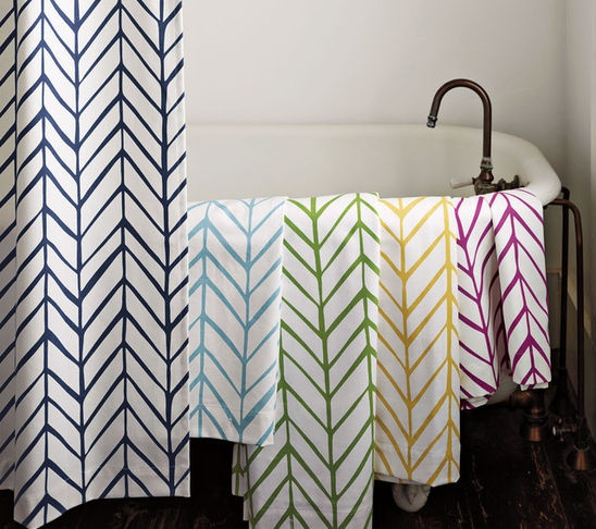 herringbone feather shower curtain by Serena and Lily - via Remodelaholic
