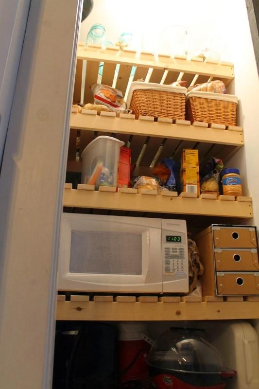 new wood slat pantry shelving, Girl Meets Carpenter on @Remodelaholic