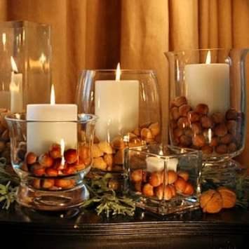 nuts in vases
