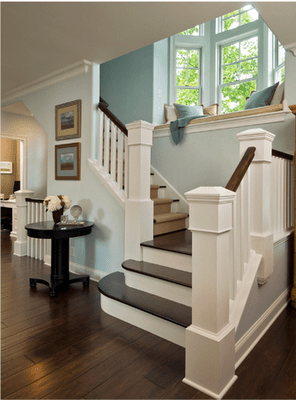 staircase window seat via @Remodelaholic