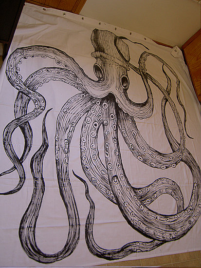 via Casa Sugar - hand painted octopus curtain - via Remodelaholic
