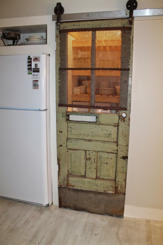 vintage pantry barn door with screen and automatic light, Girl Meets Carpenter on @Remodelaholic