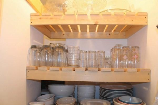 wood slat shelving in pantry, Girl Meets Carpenter on @Remodelaholic