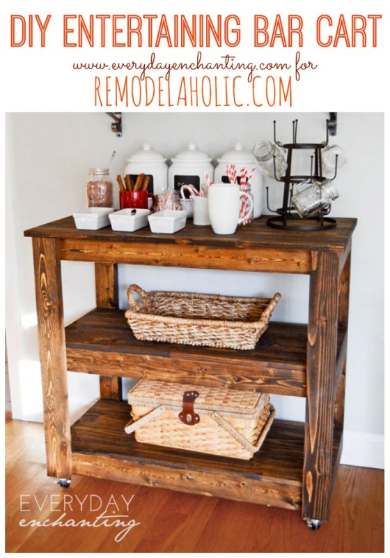 Learn how to build an easy DIY Entertaining Bar Cart from Everyday Enchanting for Remodelaholic! #tutorial