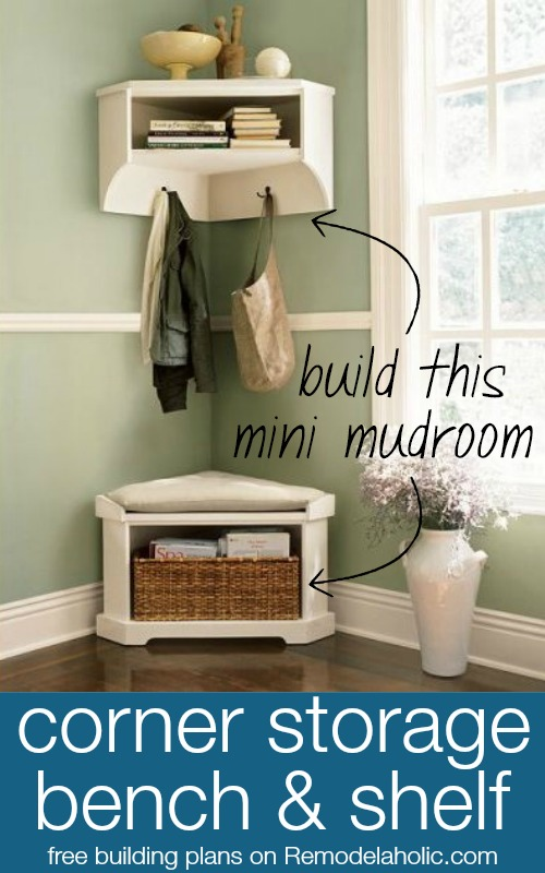 Build a Mini Mudroom Corner Bench and Shelf with Storage @Remodelaholic | 100+ Beautiful Mudrooms and Entryways at Remodelaholic.com