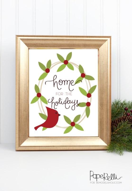 Christmas Cardinal Printable @Remodelaholic by Paperelli