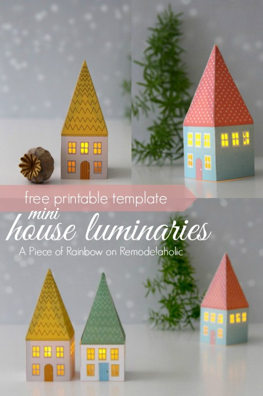 Mini House Luminaries - free printable template from A Piece of Rainbow on @Remodelaholic