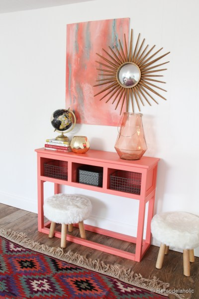 Sherwin-Williams Coral Reef Painted Console Table @Remodelaholic-005