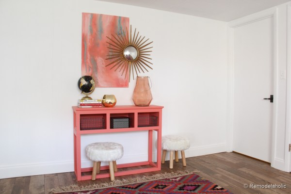 Sherwin-Williams Coral Reef Painted Console Table @Remodelaholic-019