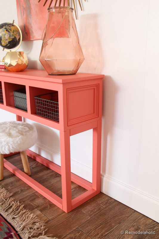 Sherwin-Williams Coral Reef Painted Console Table @Remodelaholic-027