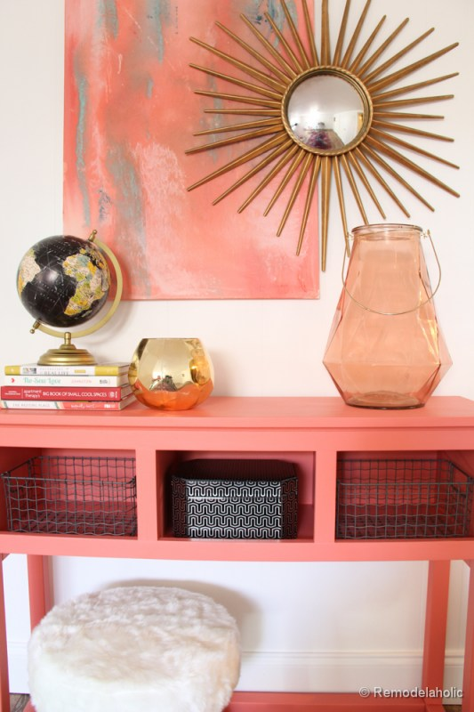 Sherwin-Williams Coral Reef Painted Console Table @Remodelaholic-039