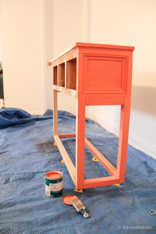 Sherwin-Williams Coral Reef Painted Console Table @Remodelaholic-2769