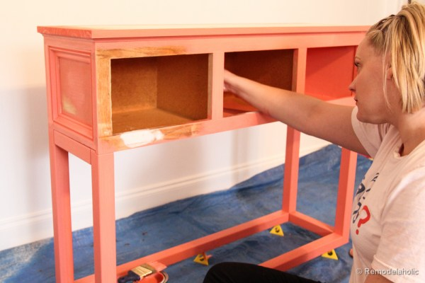 Sherwin-Williams Coral Reef Painted Console Table @Remodelaholic-2778