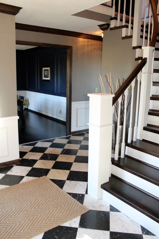 entry with staircase remodel - Construction2Style via @Remodelaholic