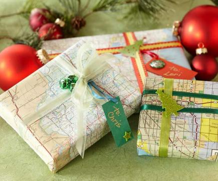 gift wrap with maps